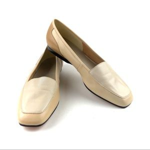 Enzo Angiolini Liberty Leather Flats Cream Tan 7.5